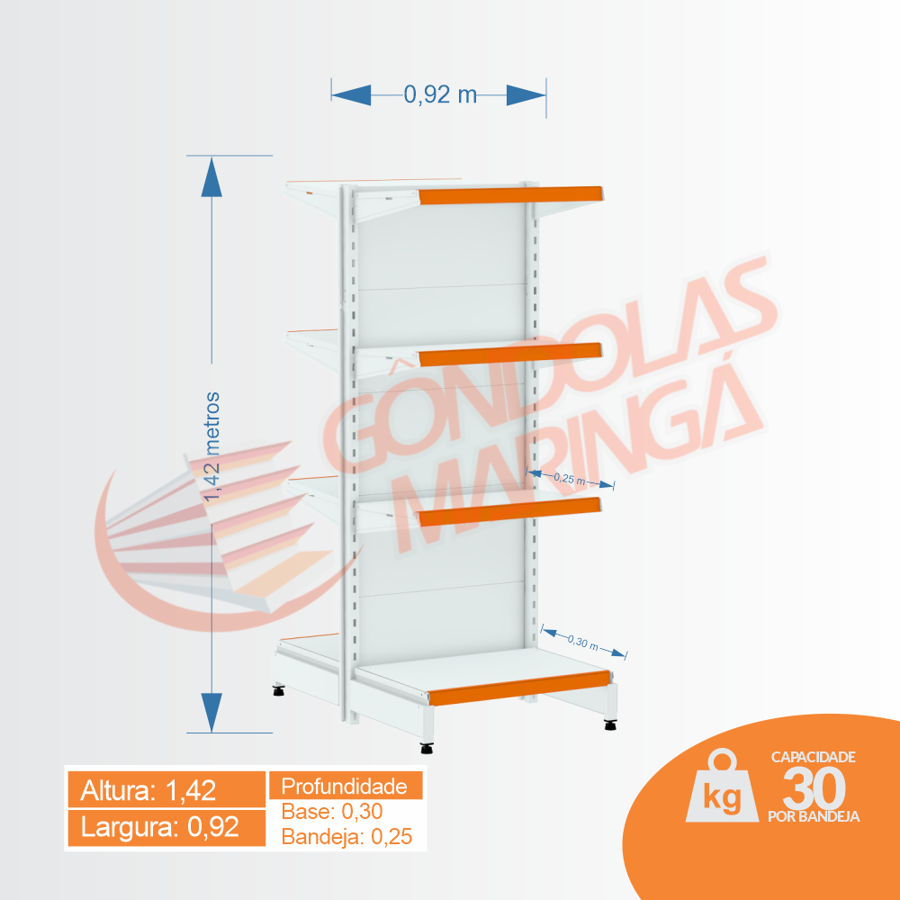 Gôndola Flex 30 Centro Inicial - 1,42 alt | C8