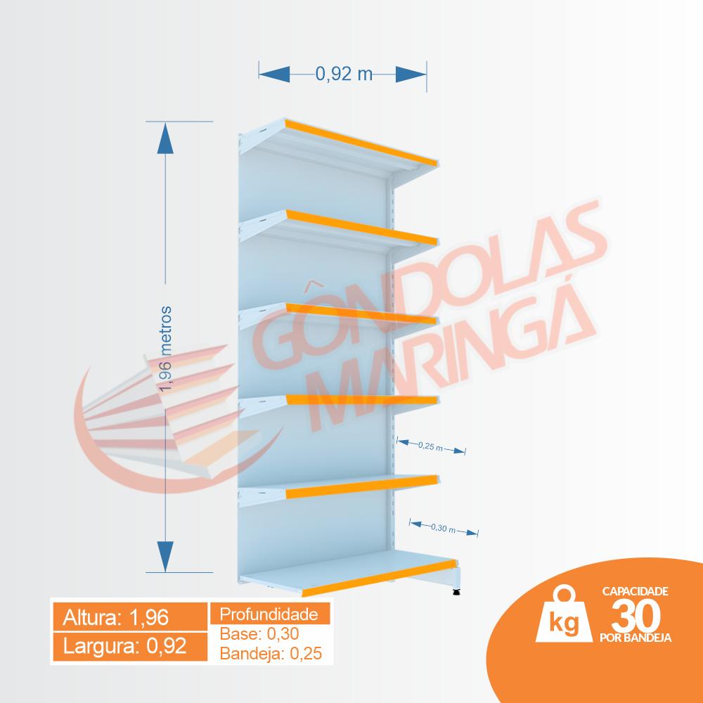 Gôndola Flex 30 Parede Continuação - 1,96 alt   C6