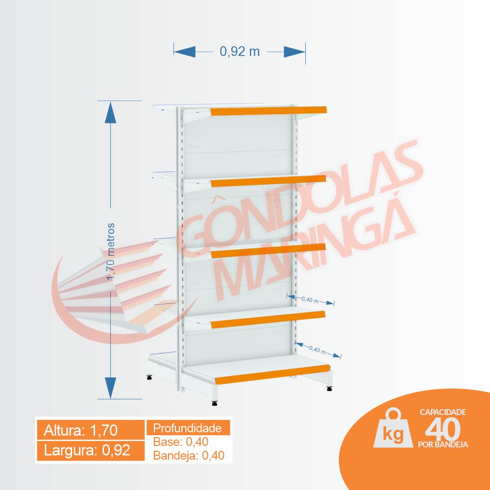 Gôndola Flex 40 Inicial Centro - 1,70 alt | Base e Bandeja 0,40 - C10