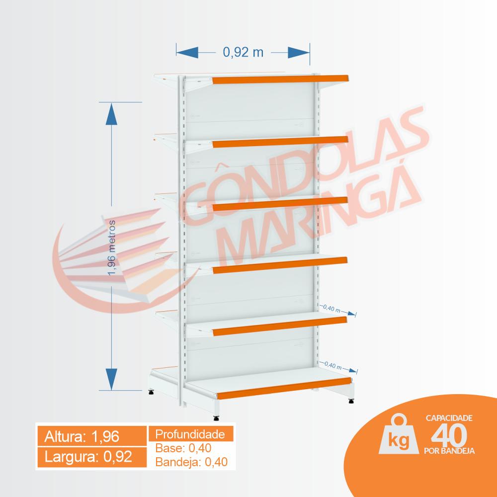 Gôndola Flex 40 Inicial Centro - 1,96 alt | Base e Bandeja 0,40| C12