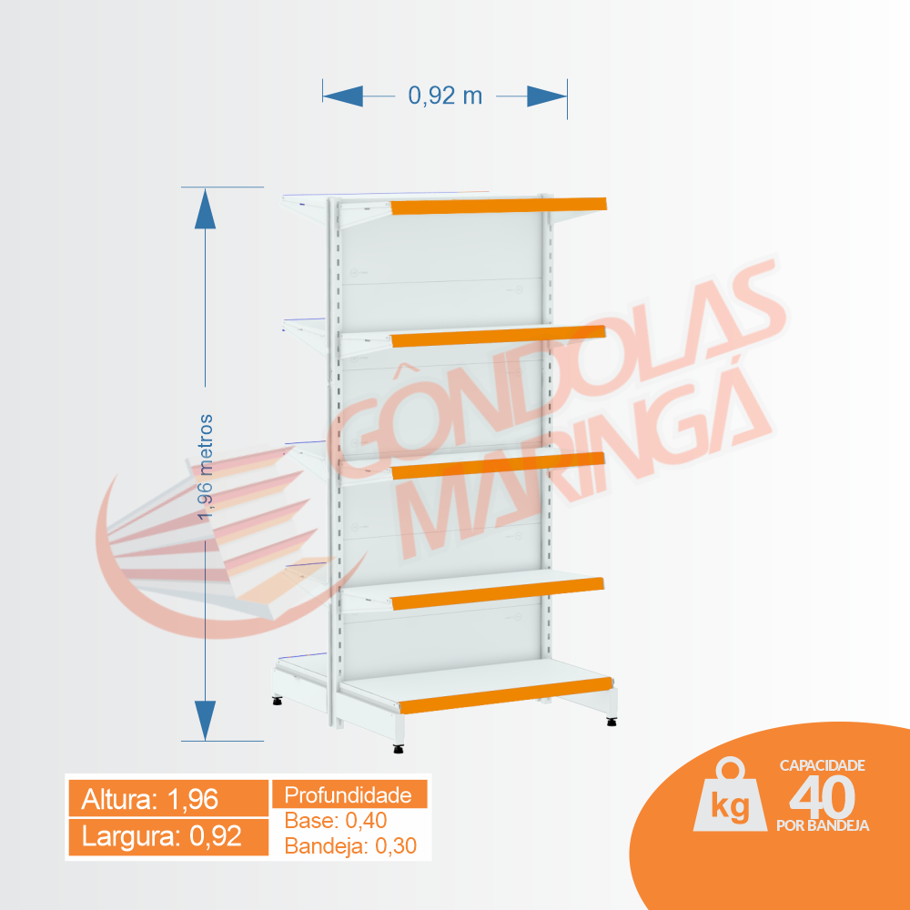 Gôndola Flex 40 Inicial Centro - 1,96 alt | C10