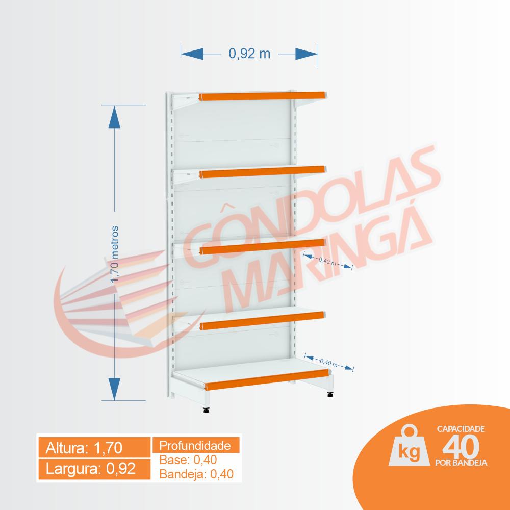 Gôndola Flex 40 Inicial Parede - 1,70 alt | Base e Bandeja 0,40 - C5