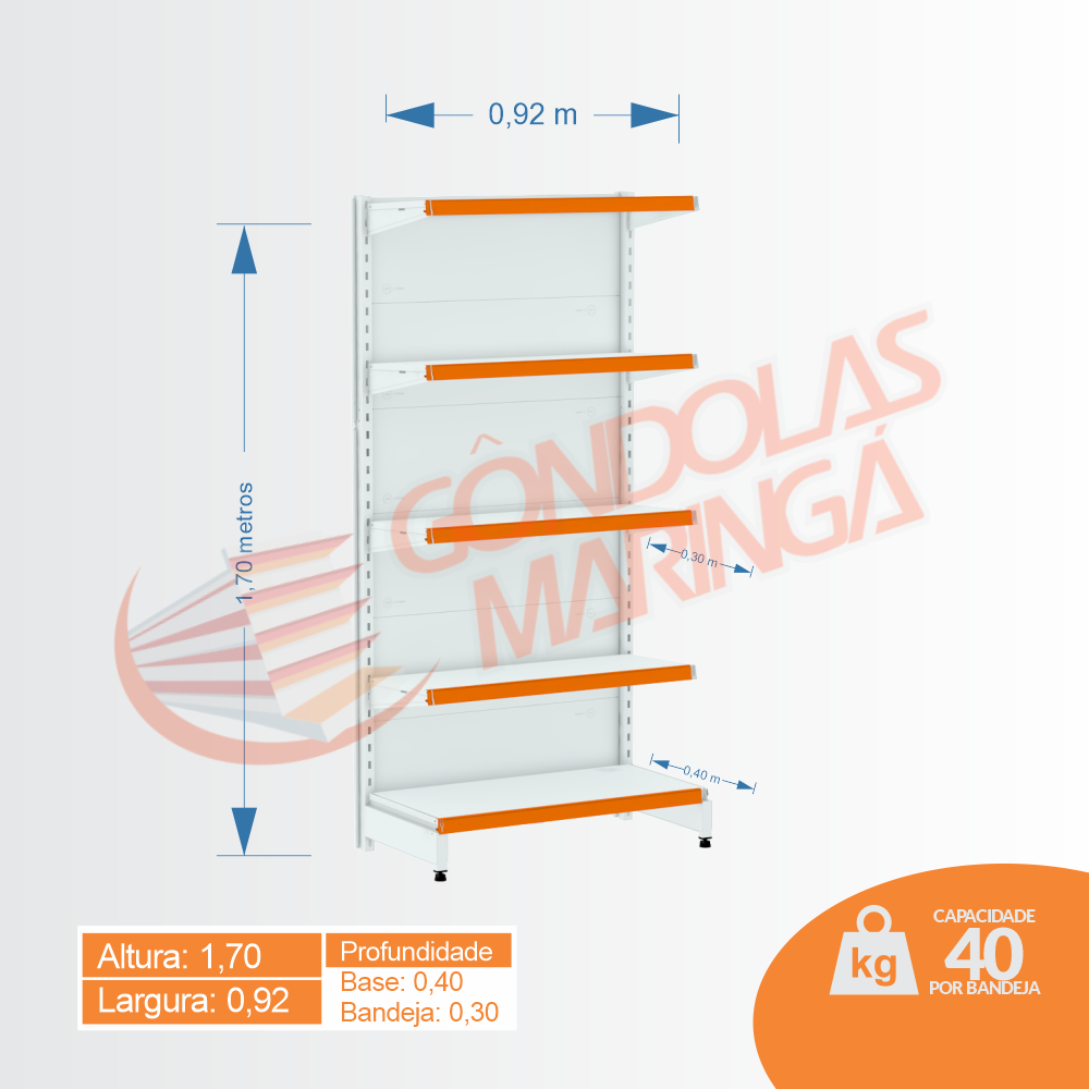 Gôndola Flex 40 Inicial Parede - 1,70 alt | C5