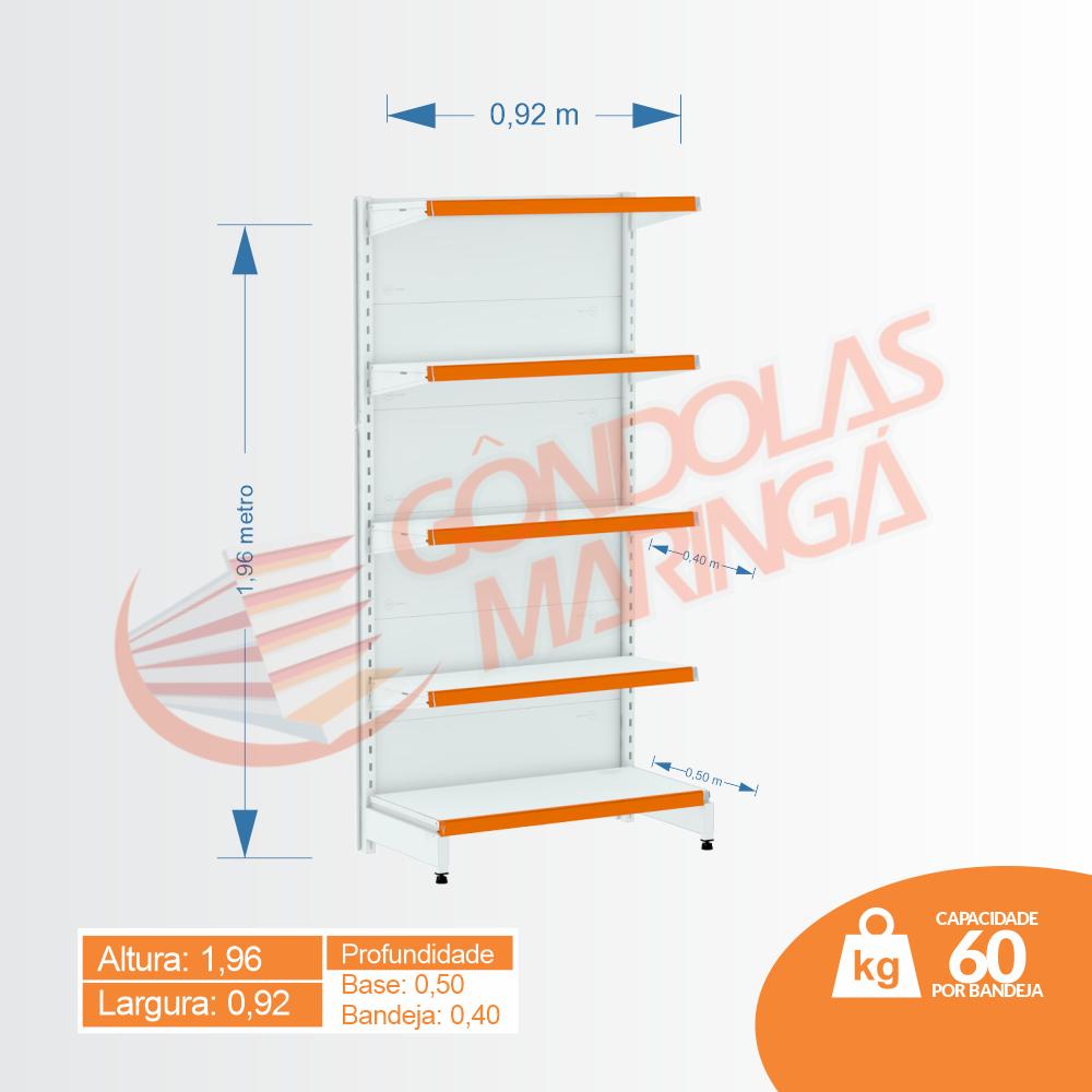 Gôndola Flex 60 Inicial Parede - 1,96 alt | Base e Bandeja Maior - C5