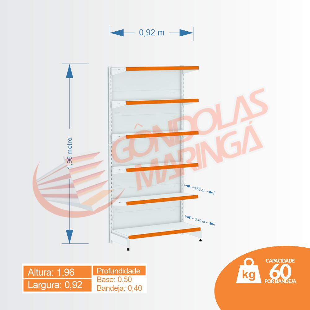 Gôndola Flex 60 Inicial Parede - 1,96 alt | Base e Bandeja Maior - C6