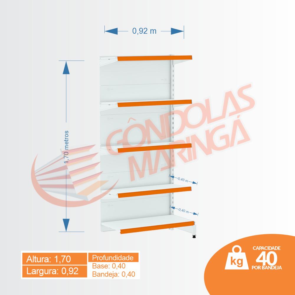 Gôndolas Flex 40 Continuação Parede - 1,70 alt | Base e Bandeja 0,40 | C5