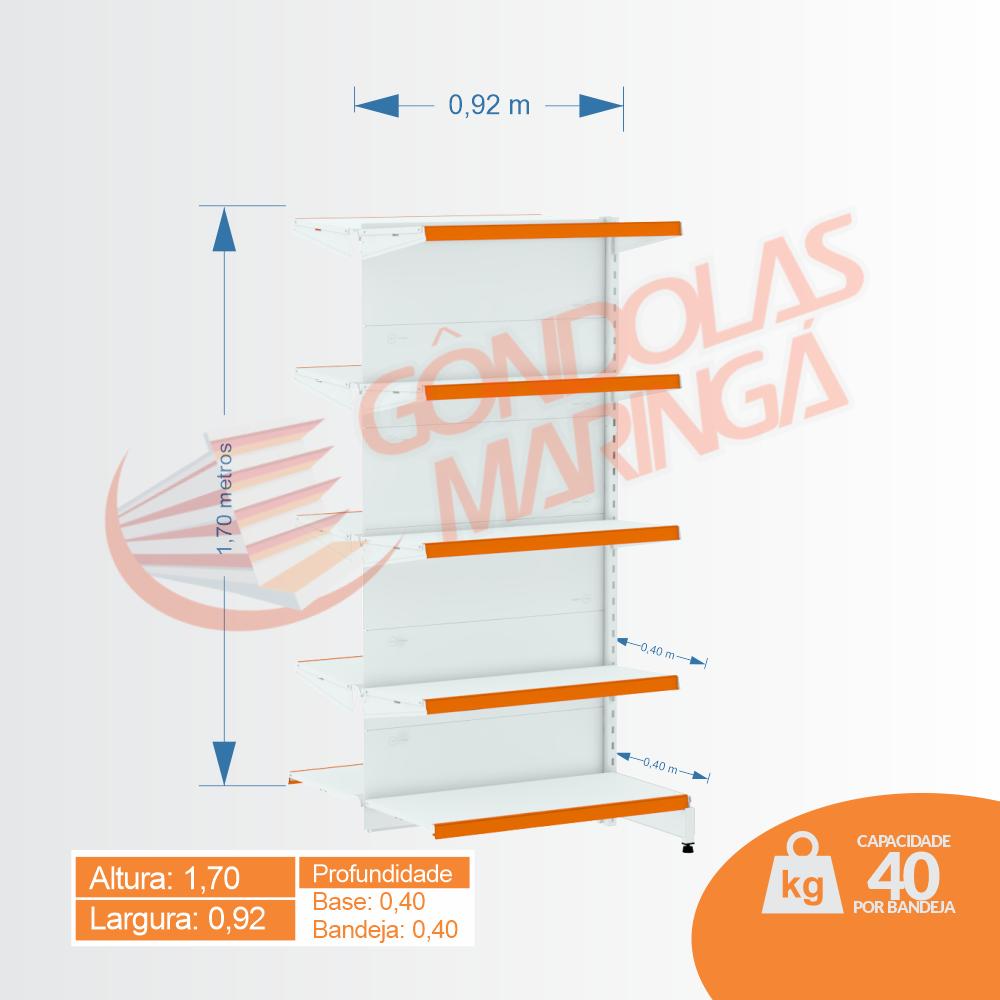 Gôndolas Flex 40 Continuação Centro - 1,70 alt   Base e bandeja 0,40   C10