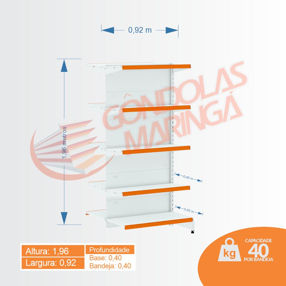 Gôndolas Flex 40 Continuação Centro - 1,96 alt | Base e bandeja 0,40 | C10