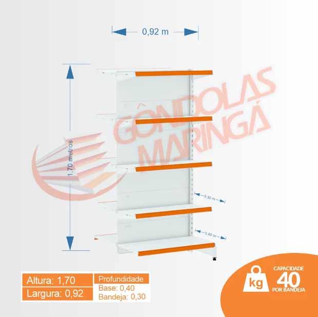Gôndolas Flex 40 Inicial Centro - 1,70 C10 80/60