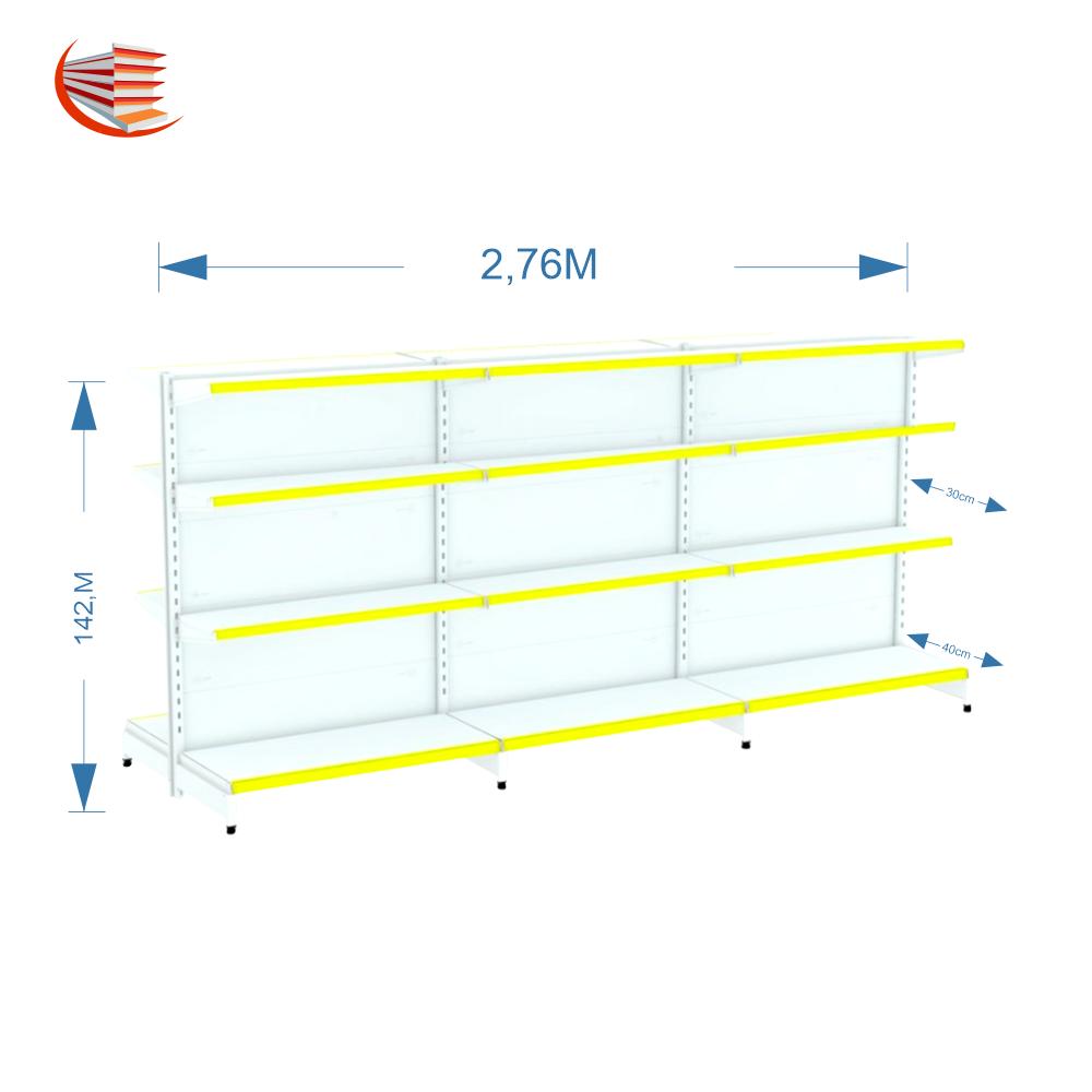 Kit 03 Gôndolas De Centro 1,42m Flex 40 1 Inicial + 2 Continuação 40/30