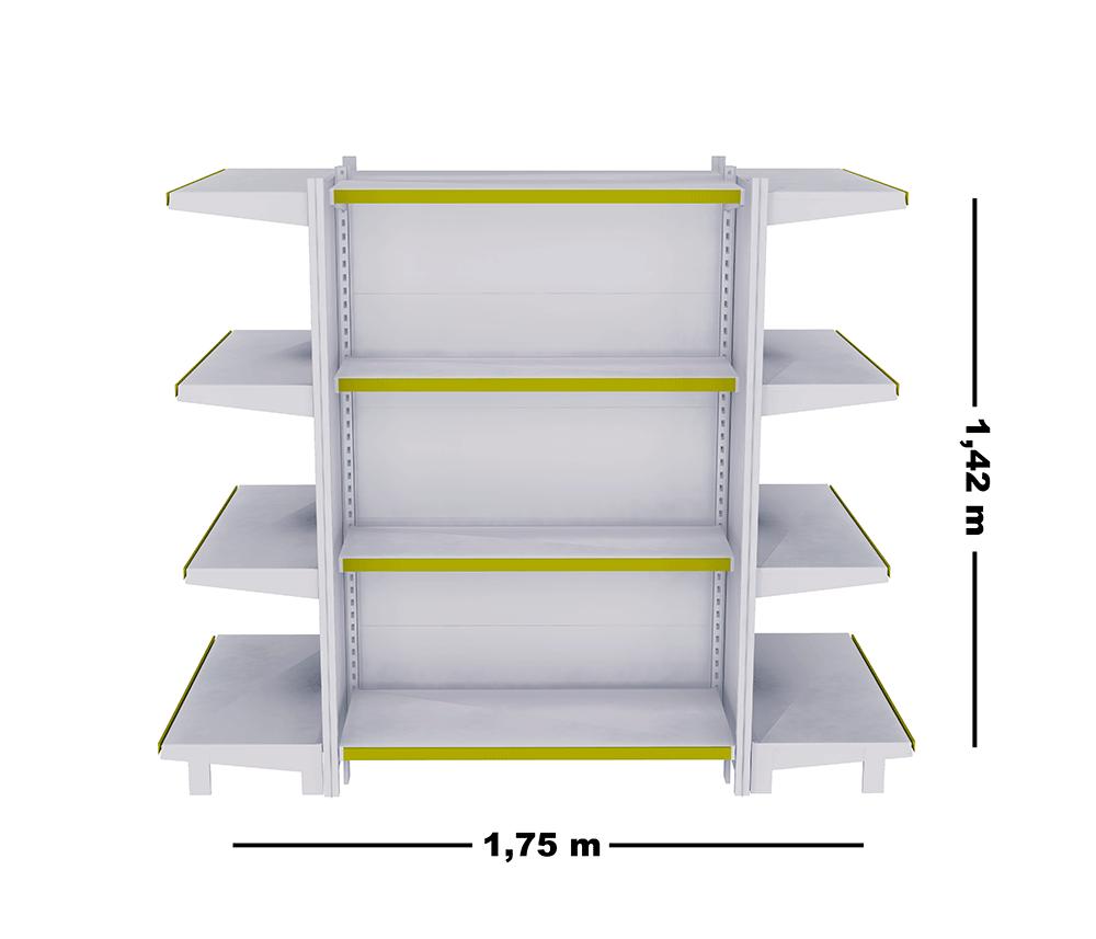 Kit 03 Gôndolas Ponta + Inicial + Ponta 1,42