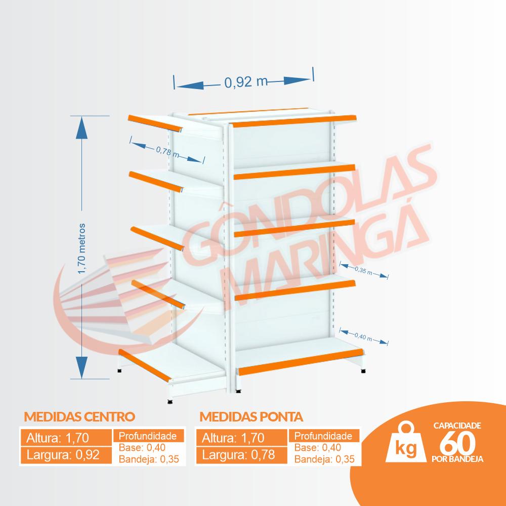 Kit 3 Gôndola de Centro 1,70 Flex 60 - 1 Inicial + 2 Ponta