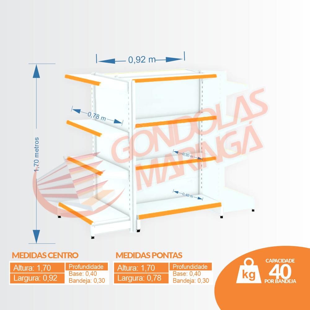 Kit 3 Gôndolas de Centro 1,70 Flex 40 - 1 Inicial + 2 Pontas