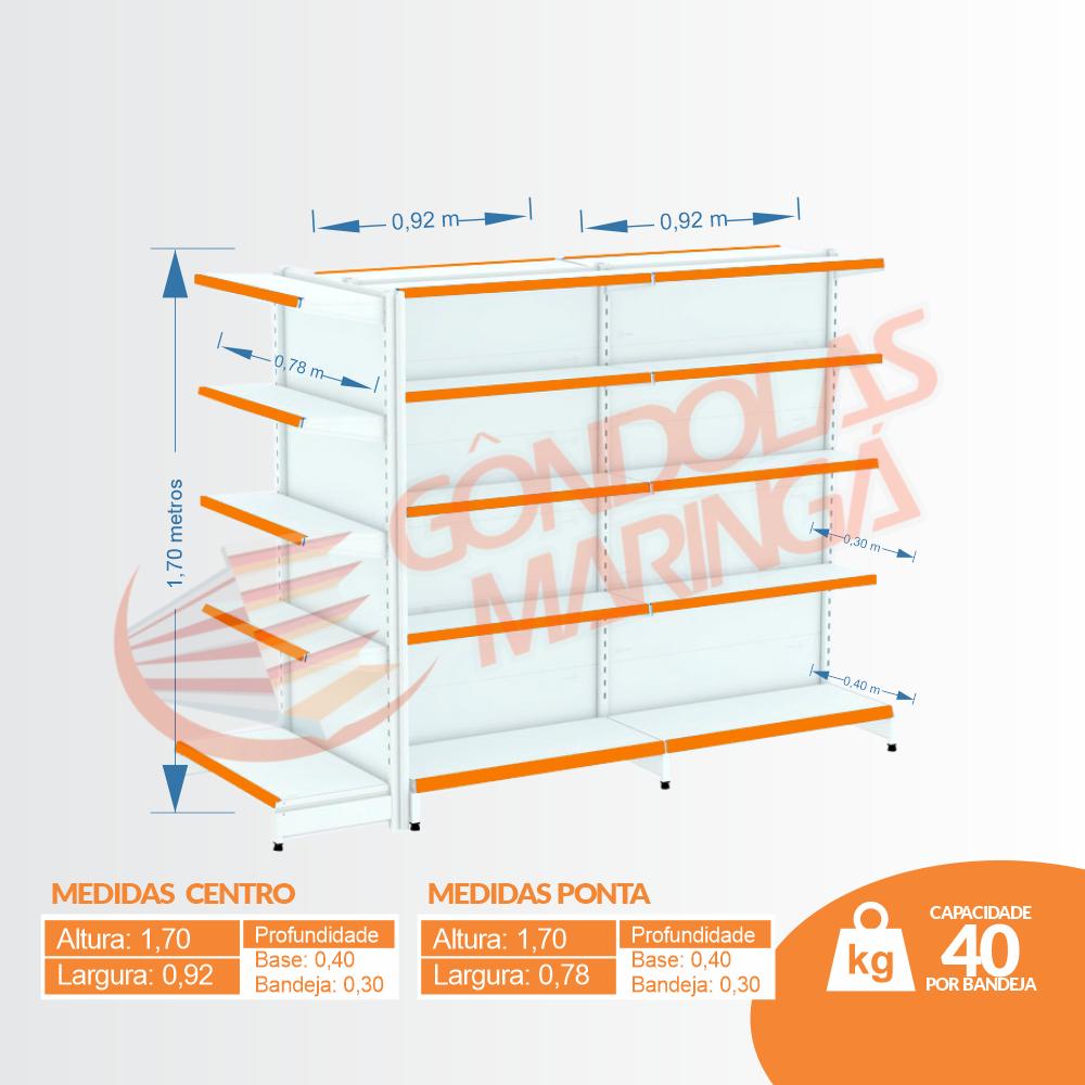 Kit 3 Gôndolas de Centro 1,70 Flex 40 Inicial + Continuação + Ponta