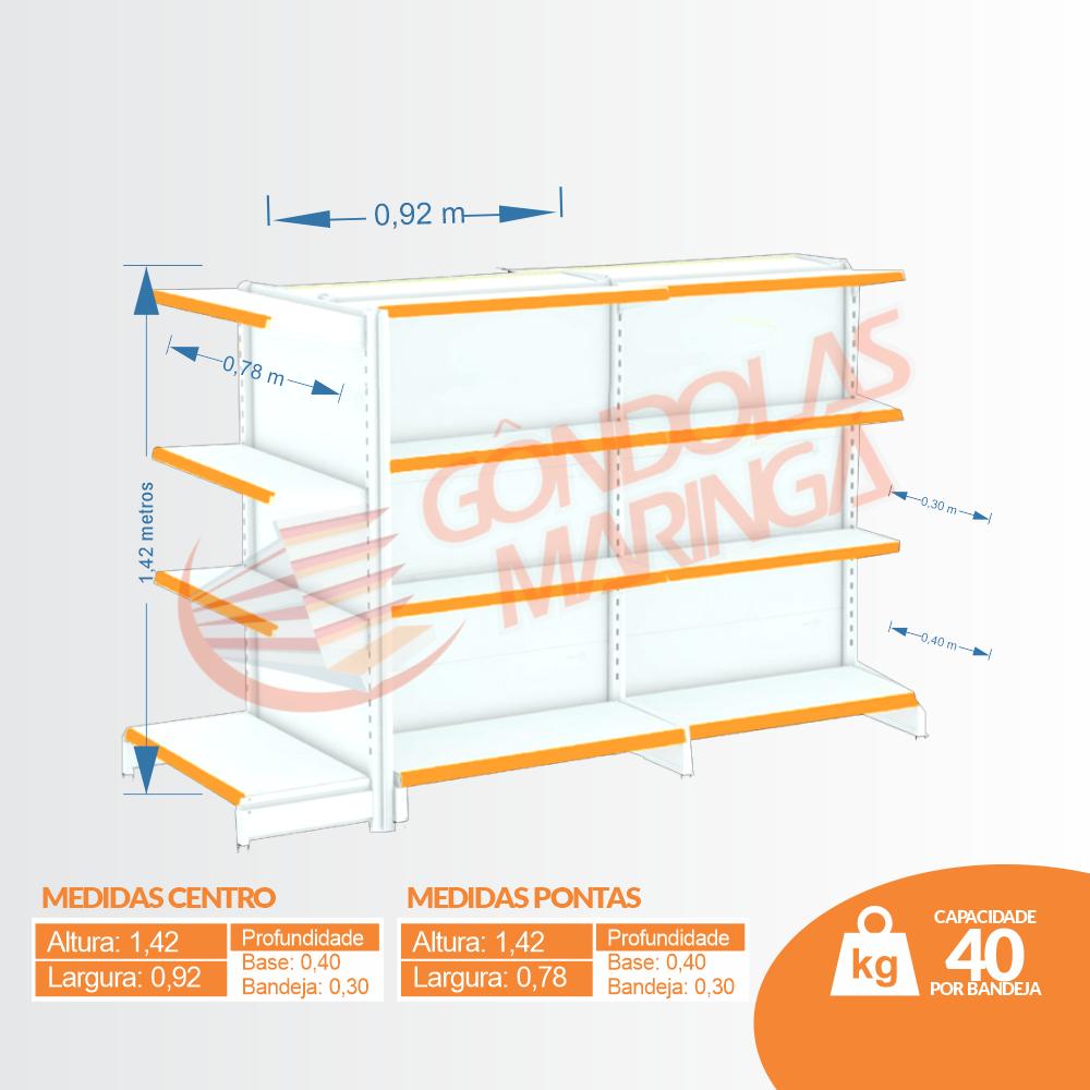 Kit 3 Gôndolas Flex 40 - 2 de Centro + 1 Ponta altura 1,42 (BRANCO)