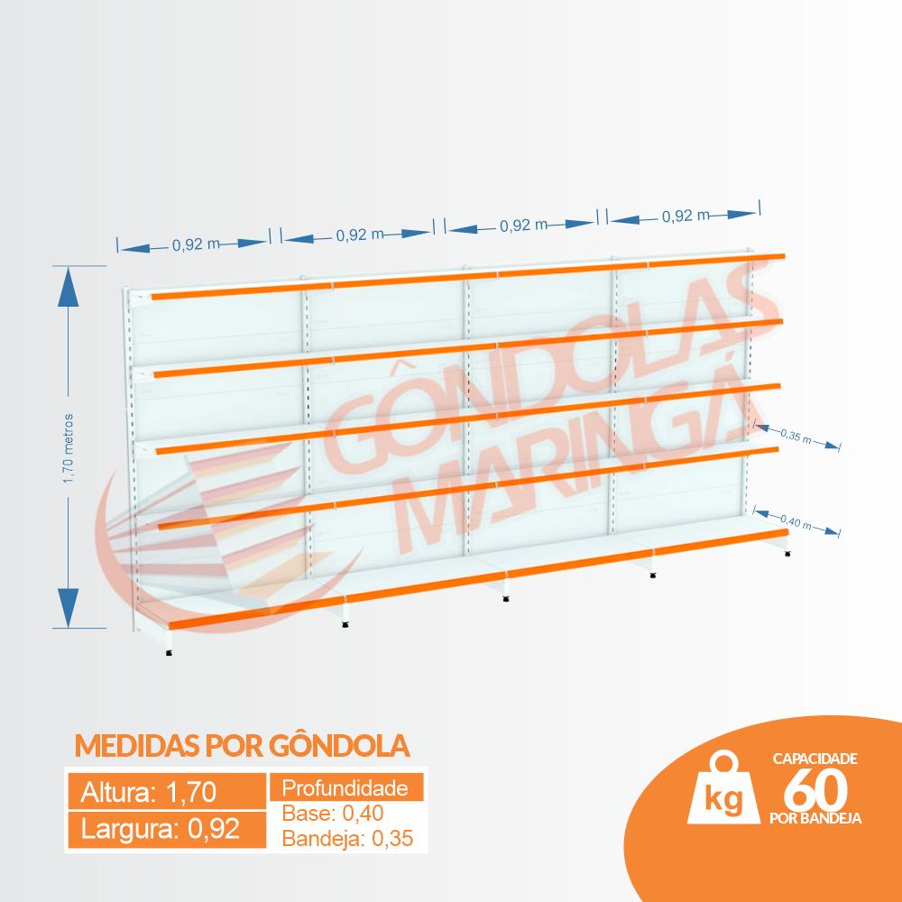 Kit 4 Gôndolas Parede Para Supermercado 1 Inicial + 3 Continuação 170cm Flex 60