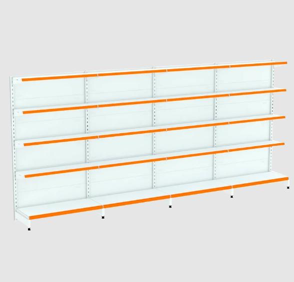 Kit 4 Gôndolas Parede Para Supermercado 1 Inicial + 3 Continuação 170cm   Flex 40