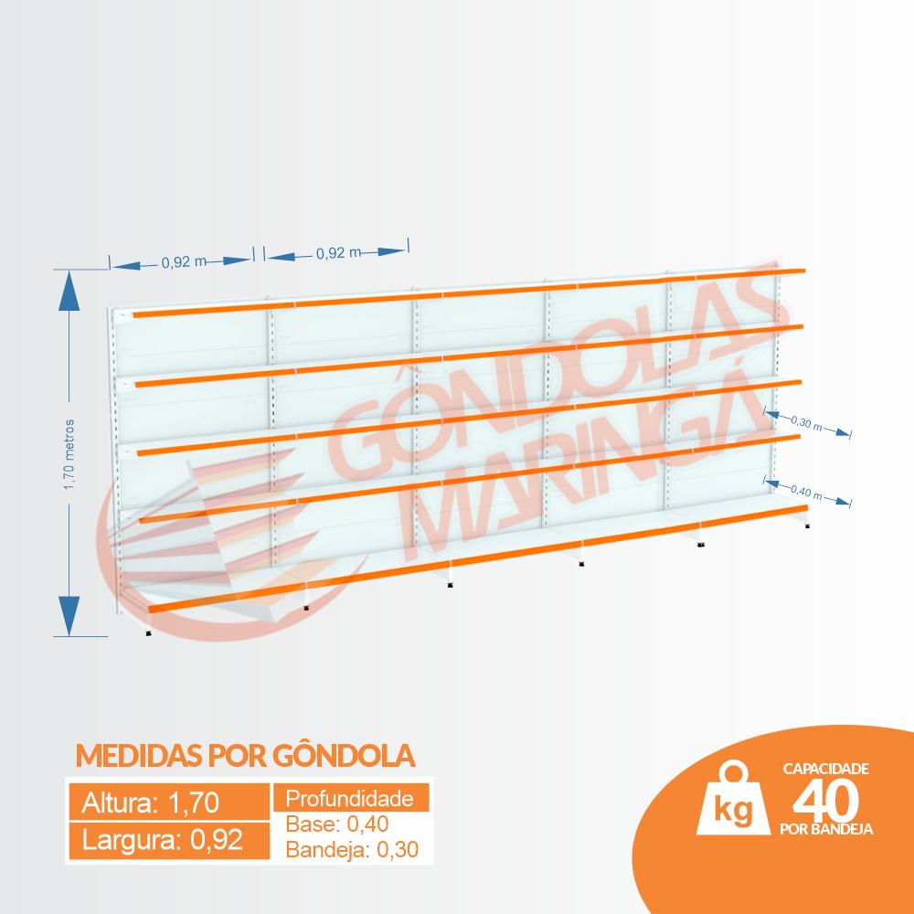 Kit 5 Gôndolas Parede Para Supermercado 1 Inicial + 4 Continuação 170cm | Flex 40