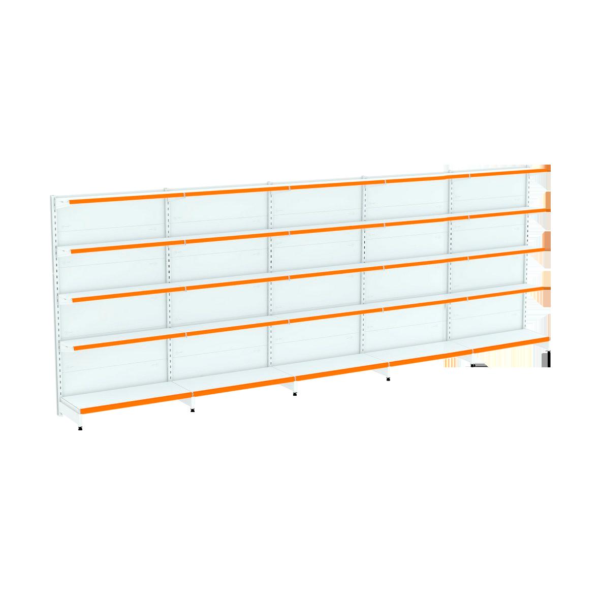 Kit 5 Gôndolas Parede Para Supermercado 1 Inicial + 4 Continuação 170cm Flex 60