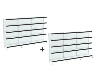 Kit com 06 gondola de parede 02 inicial 04 cont 1,96x92 Bandejas 40/30 flex 40 Amapa S/ porta etiqueta