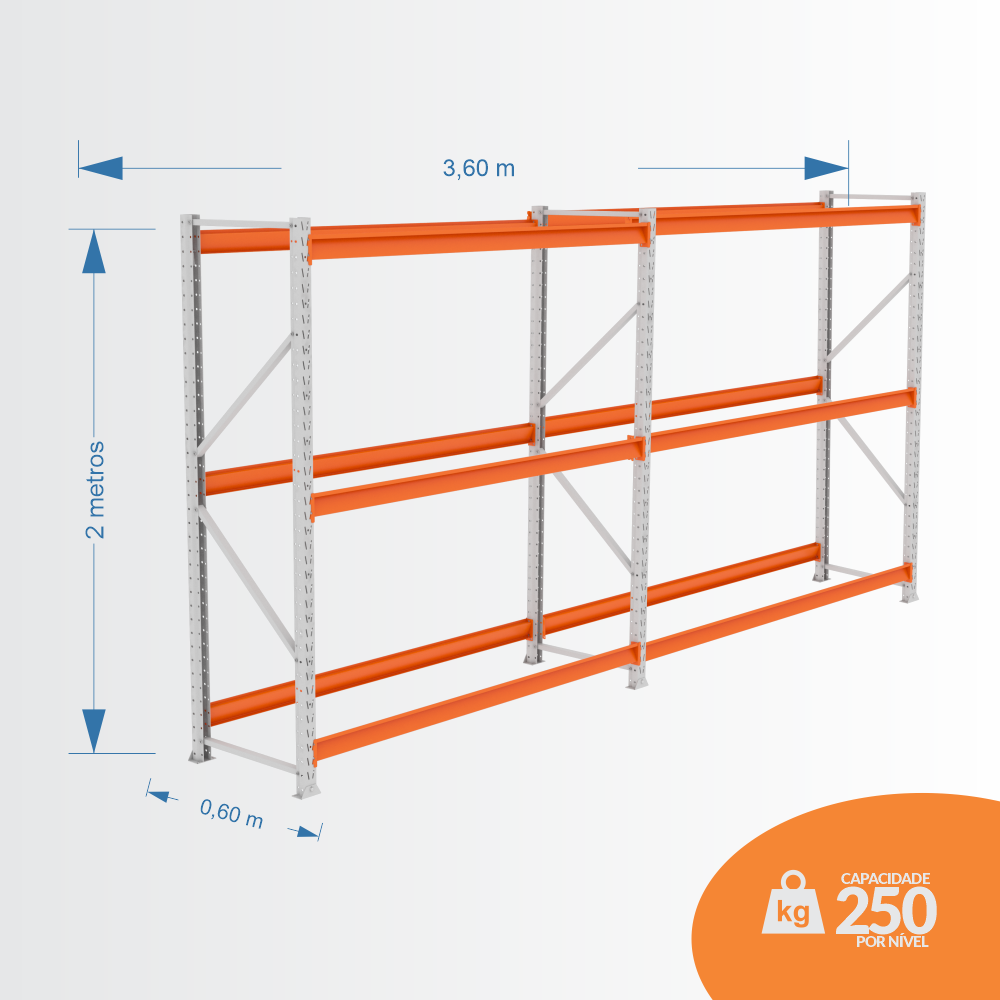 Kit Mini Porta Pallets 01 Inicial + 01 Continuação 250KG 03 Níveis ALT 2,00 X PROF 0,60 X COMP 3,60