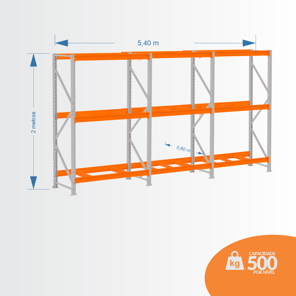 Kit Mini Porta Pallets 01 Inicial + 02 Continuação 500KG 03 Níveis ALT 2,00 X PROF 0,80 X COMP 5,40