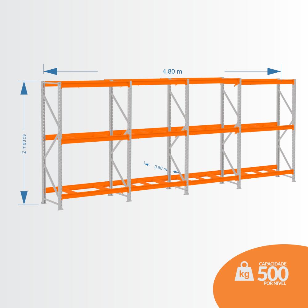 Kit Mini Porta Pallets 01 Inicial + 03 Continuação 500KG 03 Níveis ALT 2,00 X PROF 0,80 X COMP 4,80