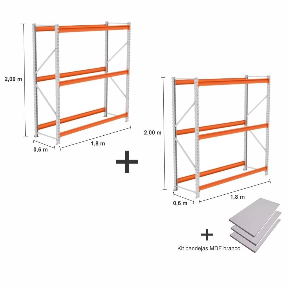 Mini Porta Pallet 2 un. 2 Inicial 250KG Com 3 niveis 2,00X1,80X0,60 + bandeja branco