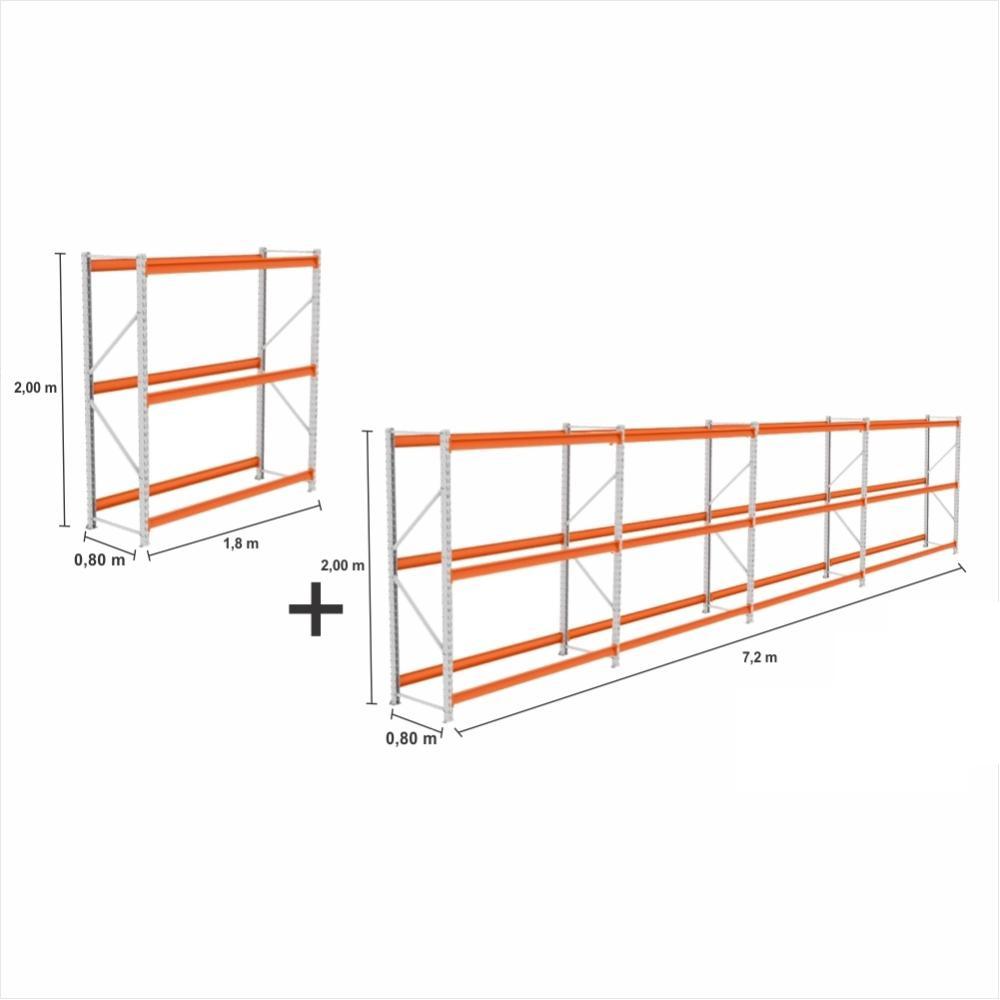 Mini Porta Pallet 5 un. 2 Iniciais + 3 Cont 500Kg C/ 3 Longarinas 2,00X1,80X0,80 S/ Bandejas