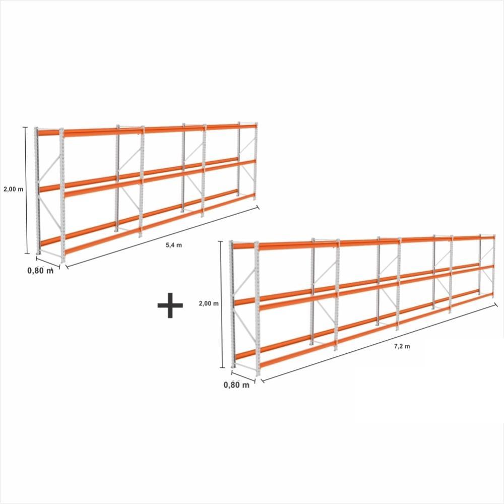 Mini Porta Pallet 7 UN. 2 Iniciais + 5 Cont 500Kg C/ 3 Niveis 2,00X1,80X0,80 S/ Bandejas