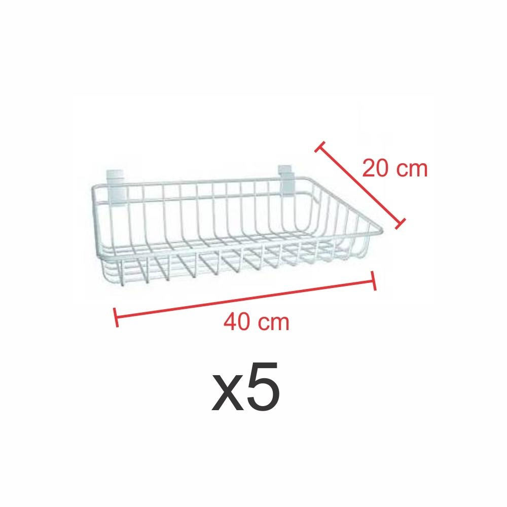 Cestos para painel canaletado 20x40cm Branco - Pacote com 5