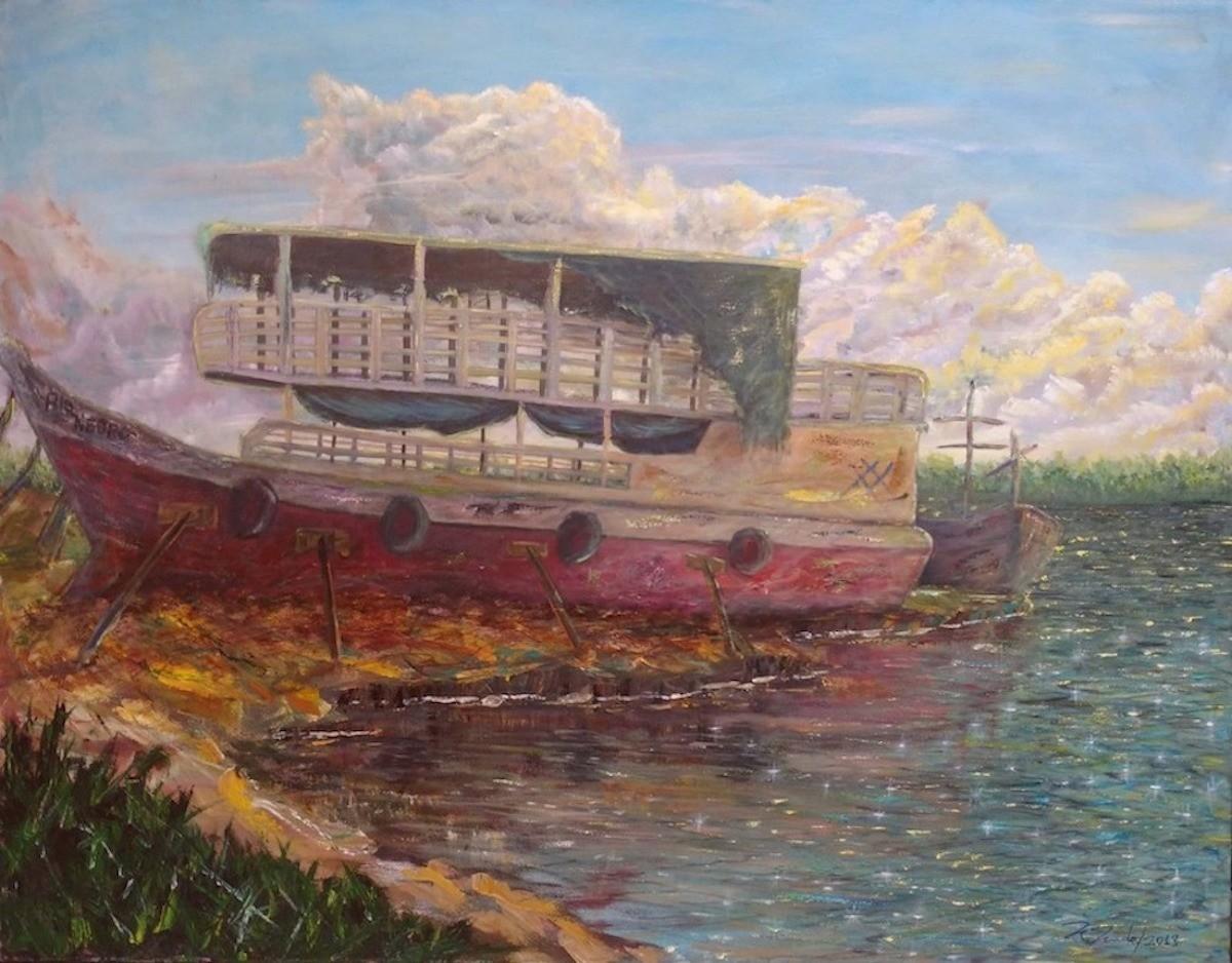 Barco Velho às Margens do Rio por Prado