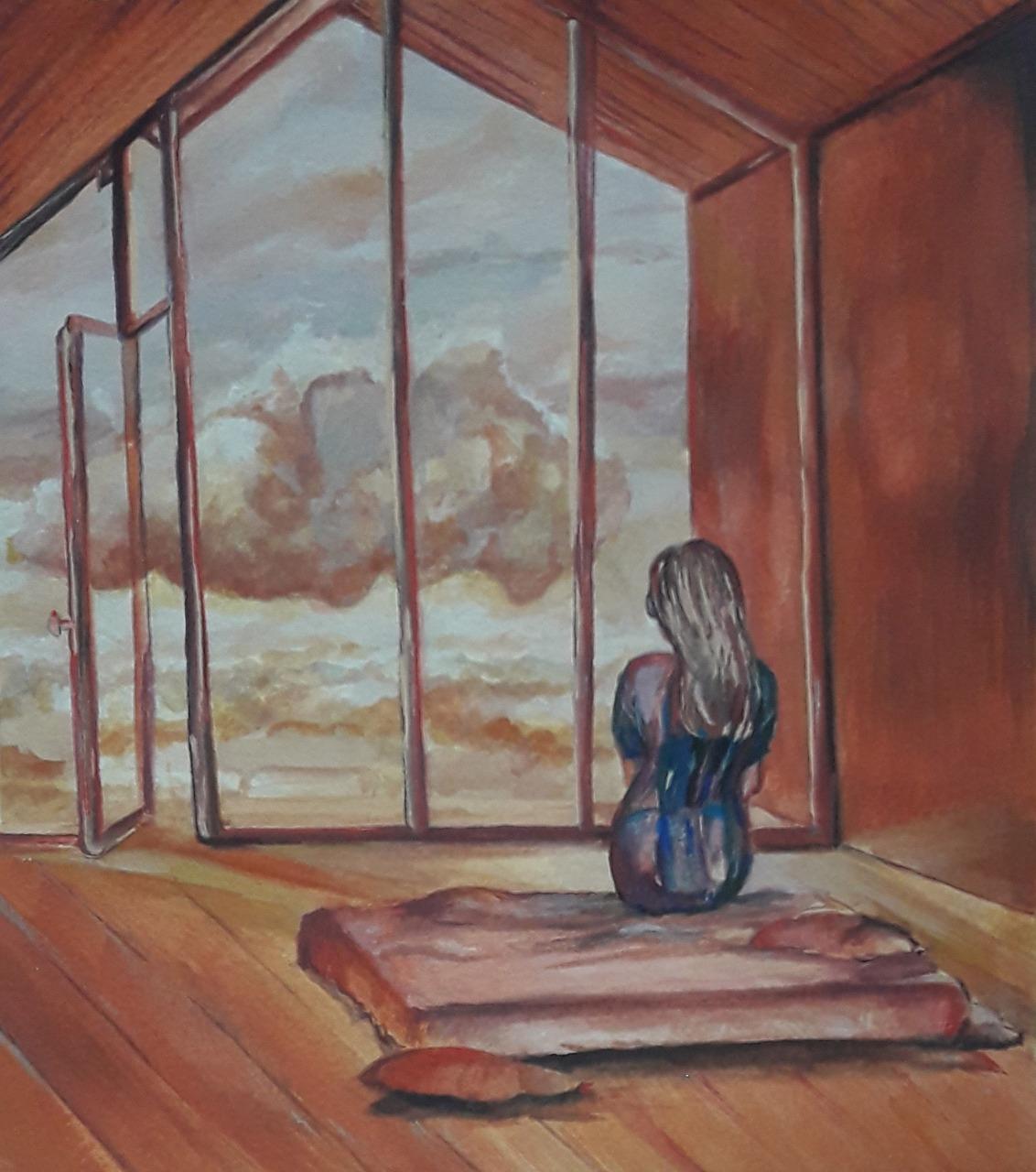 Janela com nuvens por Cecília Arguello