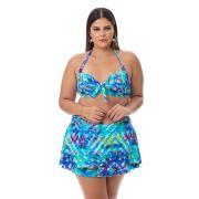 Biquíni Saia com Bojo Plus Size Estampado Detalhe Azul