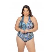 Maiô Estampado Azul Floral Plus Size