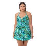 Maiô Estampado Plus Size Verde com saia embutida