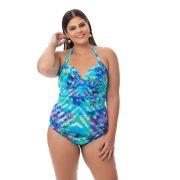 Maiô Plus Size com bojo Estampado Azul com Laço Lateral