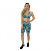 Top Fitness de Academia Feminino Estampado Verde Nadador