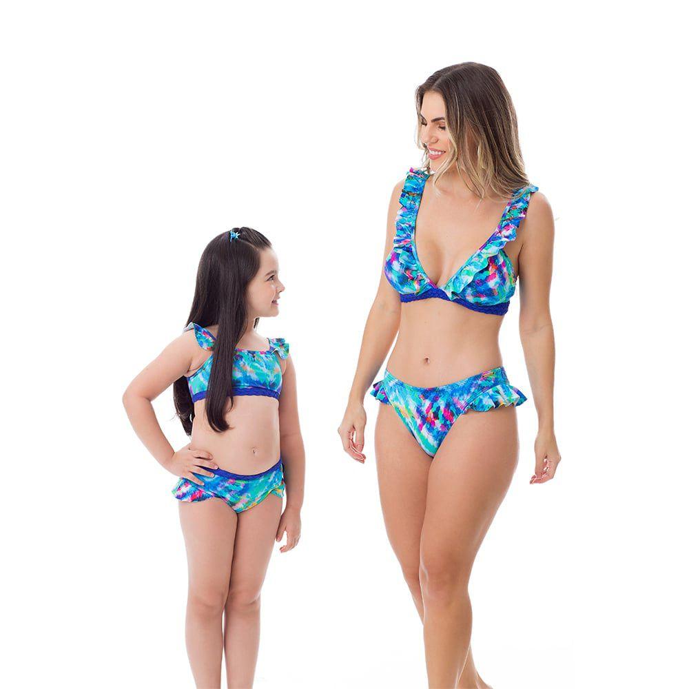 Biquíni com Babado Mãe e Filha Estampado Azul