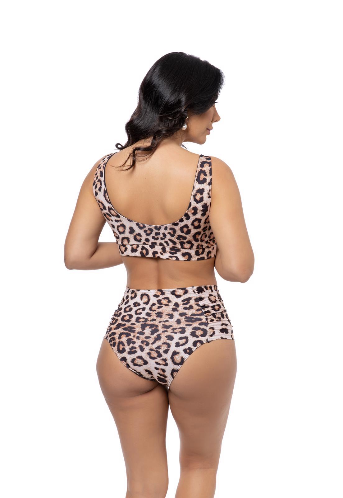 Biquíni Cós Alto Estampa Leopardo e Amarração Frontal