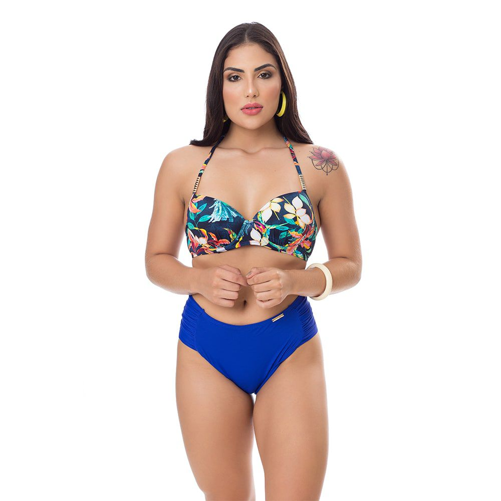 Biquíni floral blue com bojo hot pants