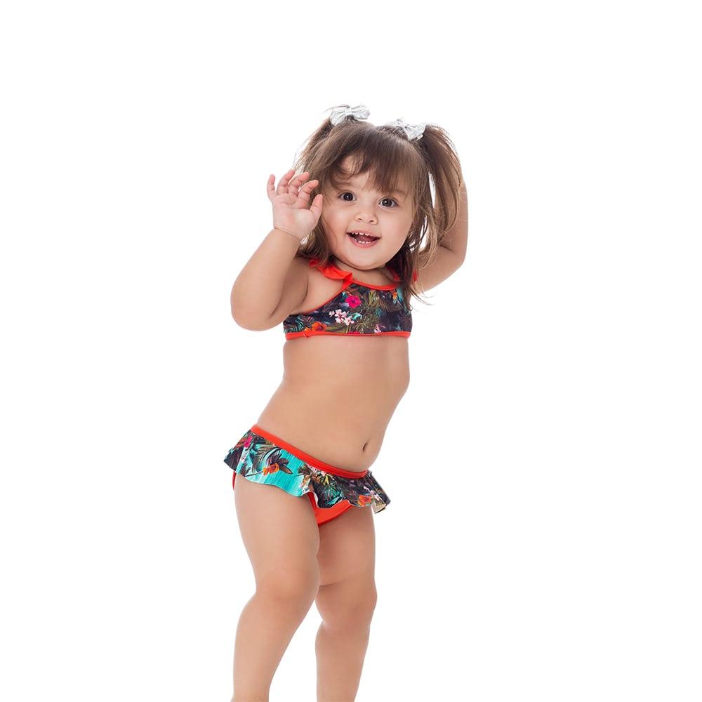 Biquini Infantil com Babado e detalhe Laranja
