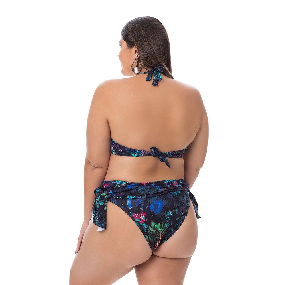 Biquíni Saia com Bojo Plus Size Estampado Folhagem Escura
