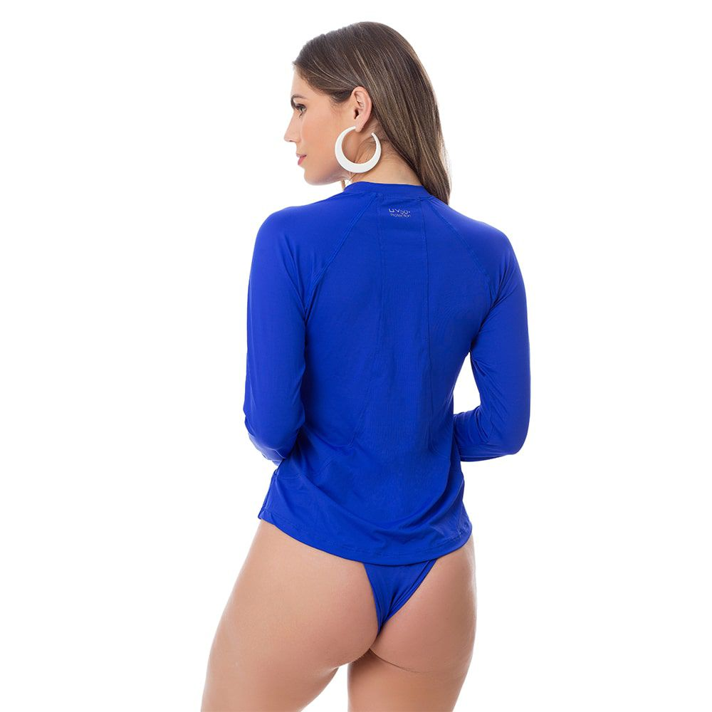 Camisa UV Feminina Adulta +50 Azul Royal Manga Longa