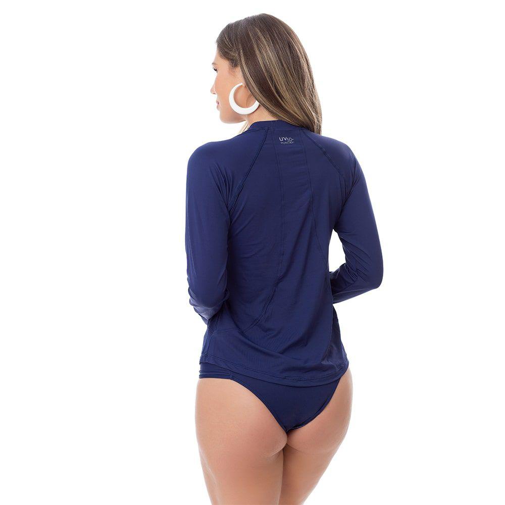Camisa UV Feminina Adulta +50 Azul Marinho Manga Longa