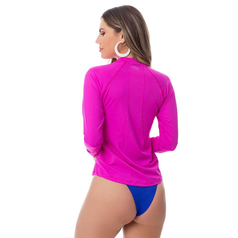 Camisa UV Feminina Adulta +50 Rosa Manga Longa