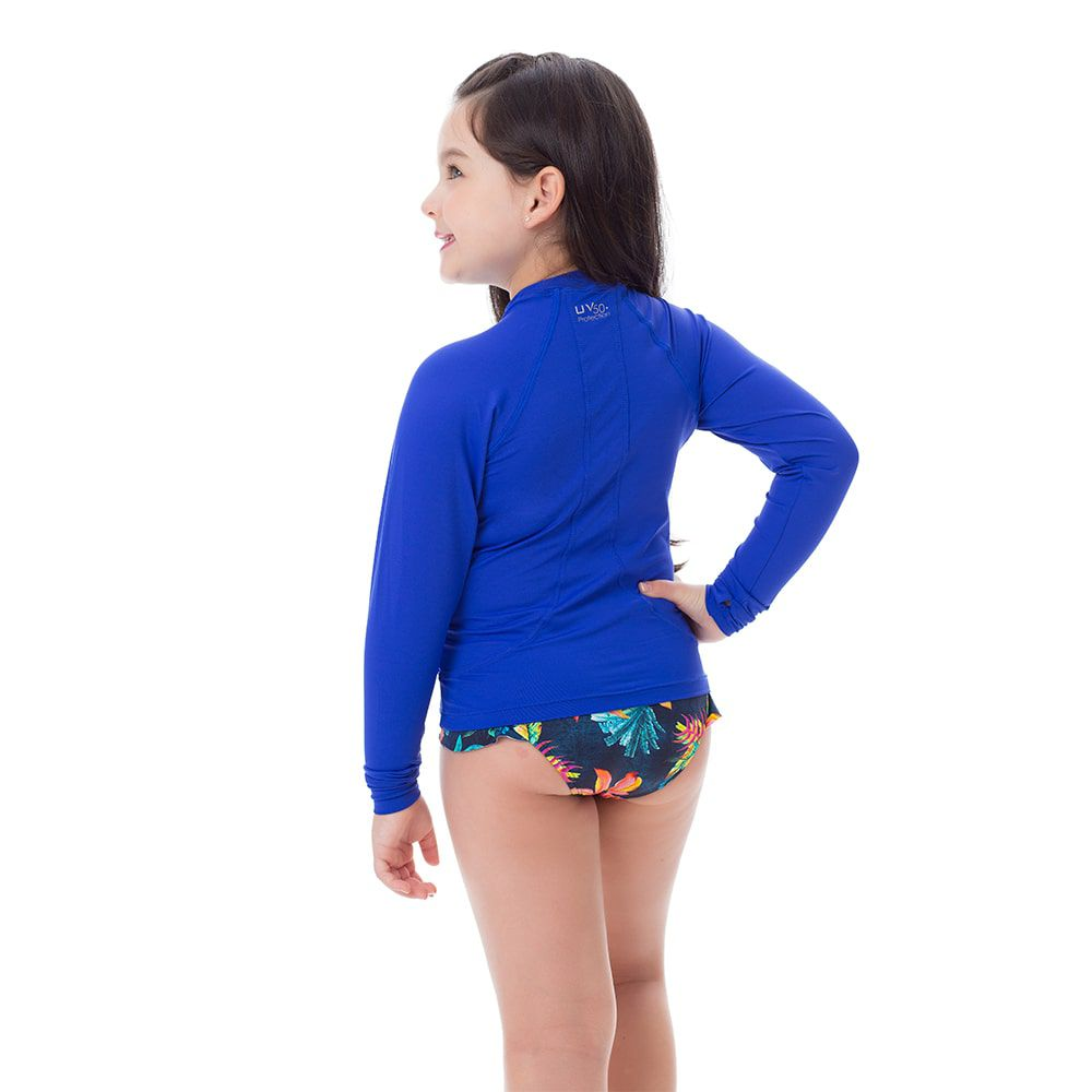 Camisa UV Feminina Infantil  +50 Lisa Azul Royal