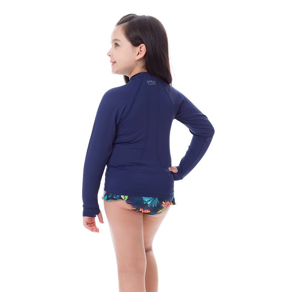 Camisa UV Feminina Infantil  +50 Lisa Azul Marinho