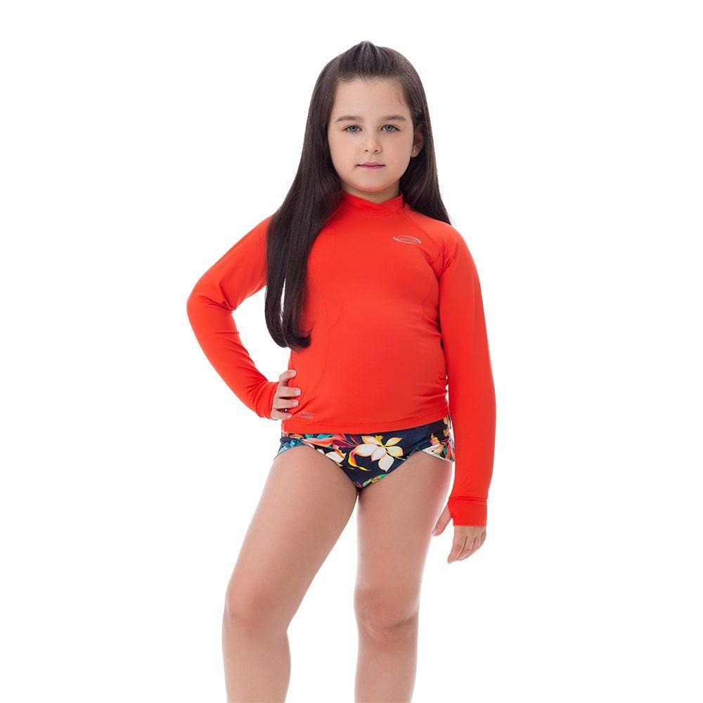 Camisa UV Feminina Infantil  +50 Lisa Laranja