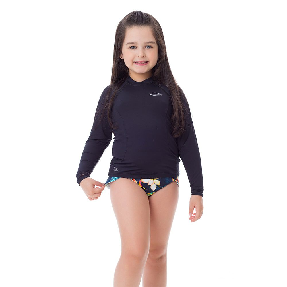 Camisa UV Feminina Infantil  +50 Lisa Preta